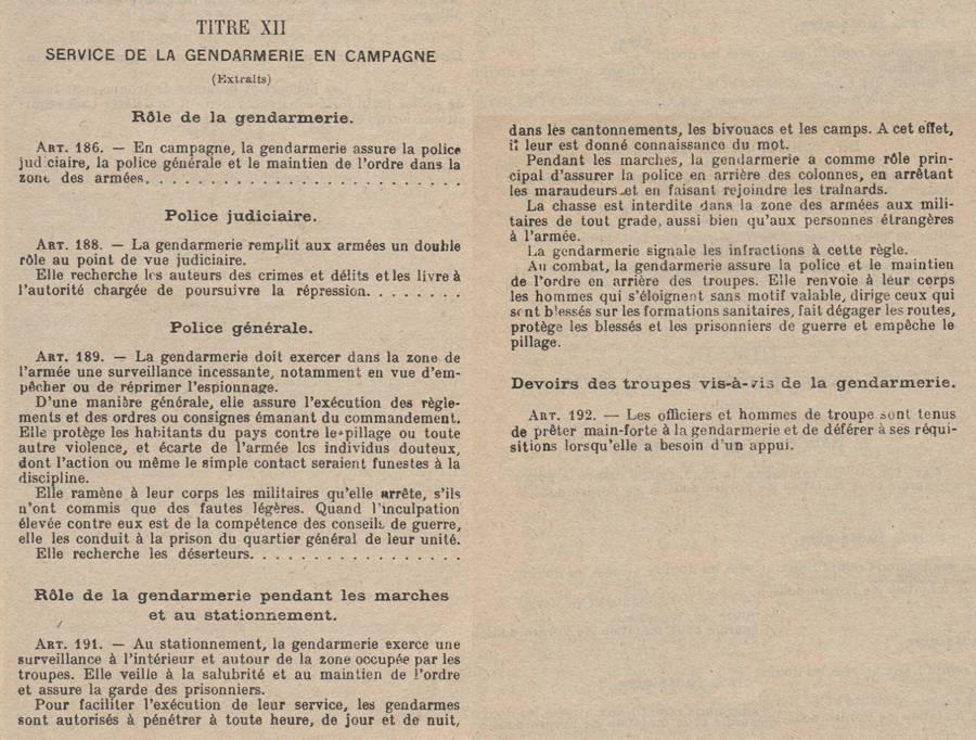 Réglement militaire concernant la gendarmerie